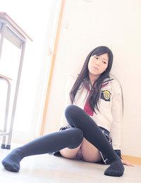 Saemi Shinohara Asian looks amazing in school uniform and socks