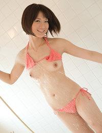 Mayu Kamiya Asian takes juicy titties out of bra to enjoy sun